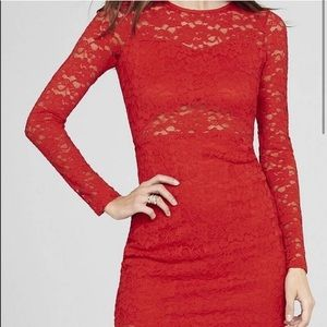 Express Red Long Sleeve Dress size XS